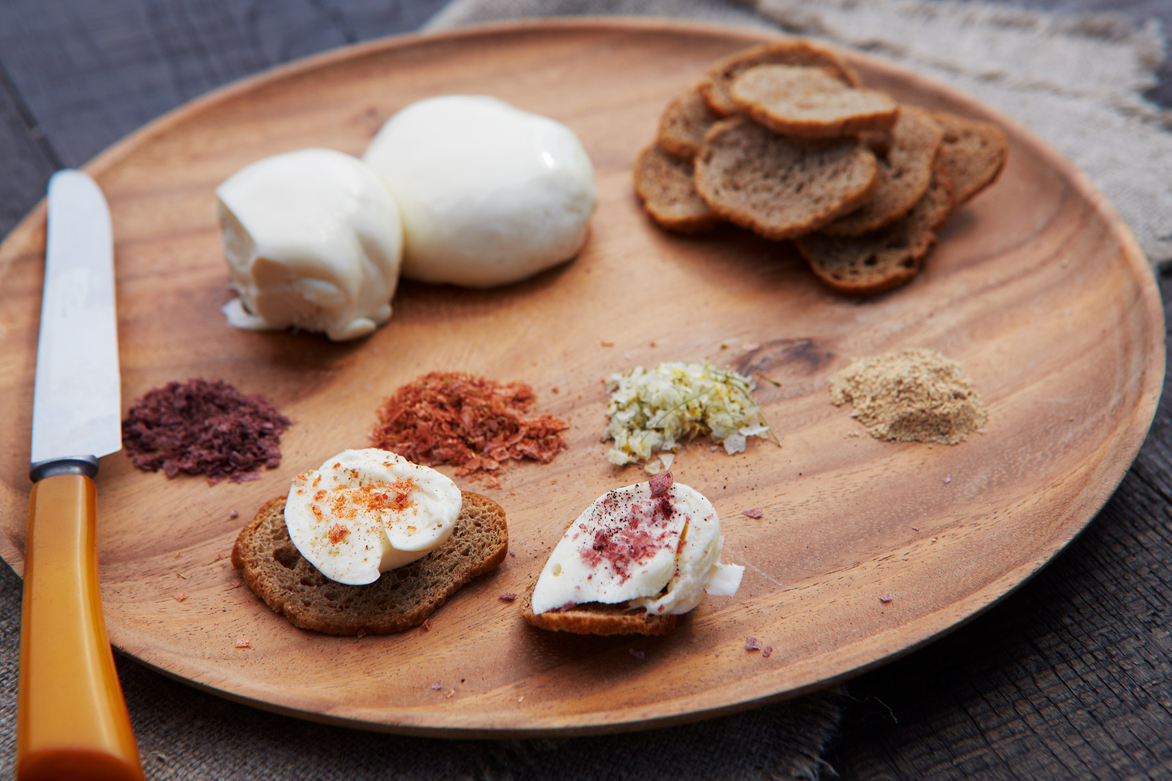 AlanCampbellPhotography, fresh cheeses and salts appetizer