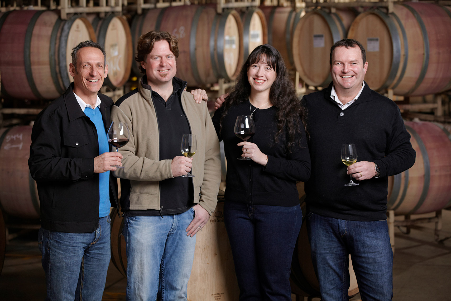 AlanCampbellPhotography, group of winemakers in the cellar