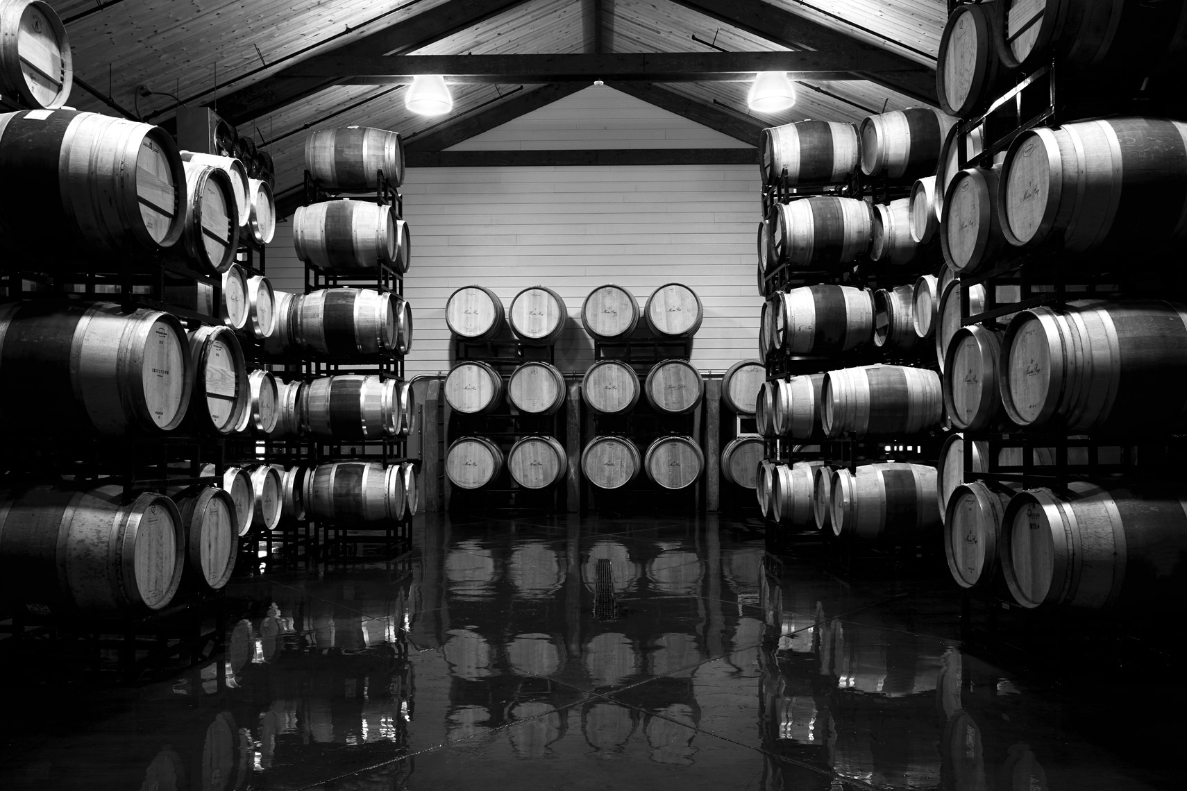 AlanCampbellPhotography, barrel room in Black and White