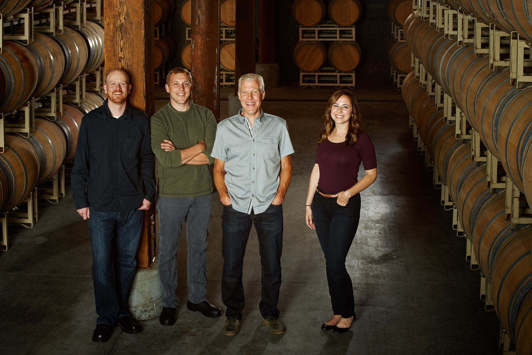 AlanCampbellPhotography, Wine-Making-Team- in cellar